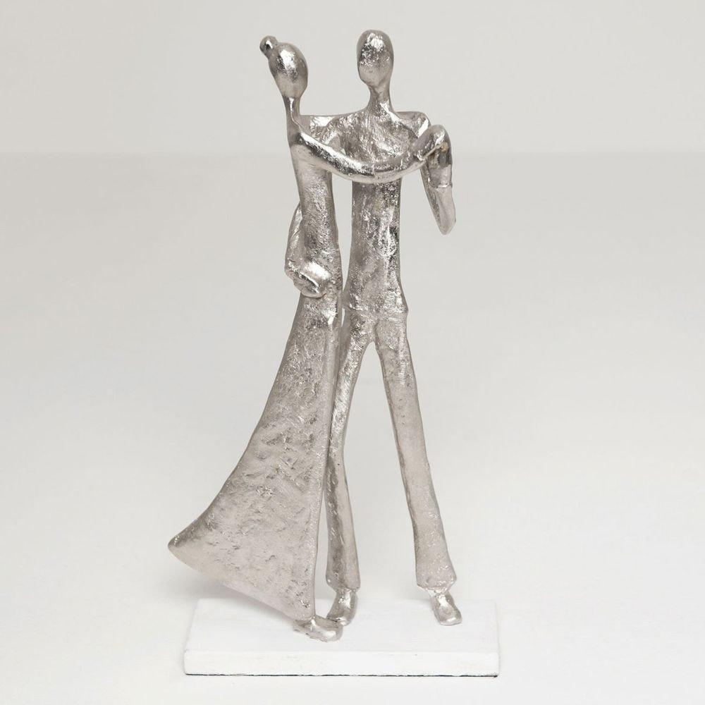 Figur Simmetria Aluminium-Holz Silber- Weiß 1