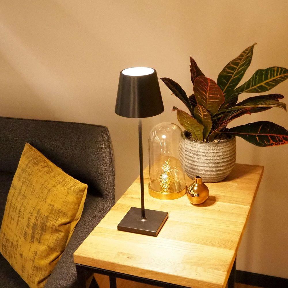 LED Akku Außen-Tischlampe Qutarg IP54 Dimmbar Schwarz thumbnail 3