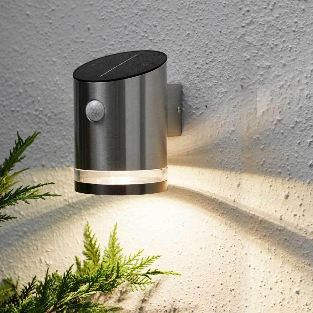 Premium LED Solar Wandleuchte mit Bewegungsmelder Edelstahl