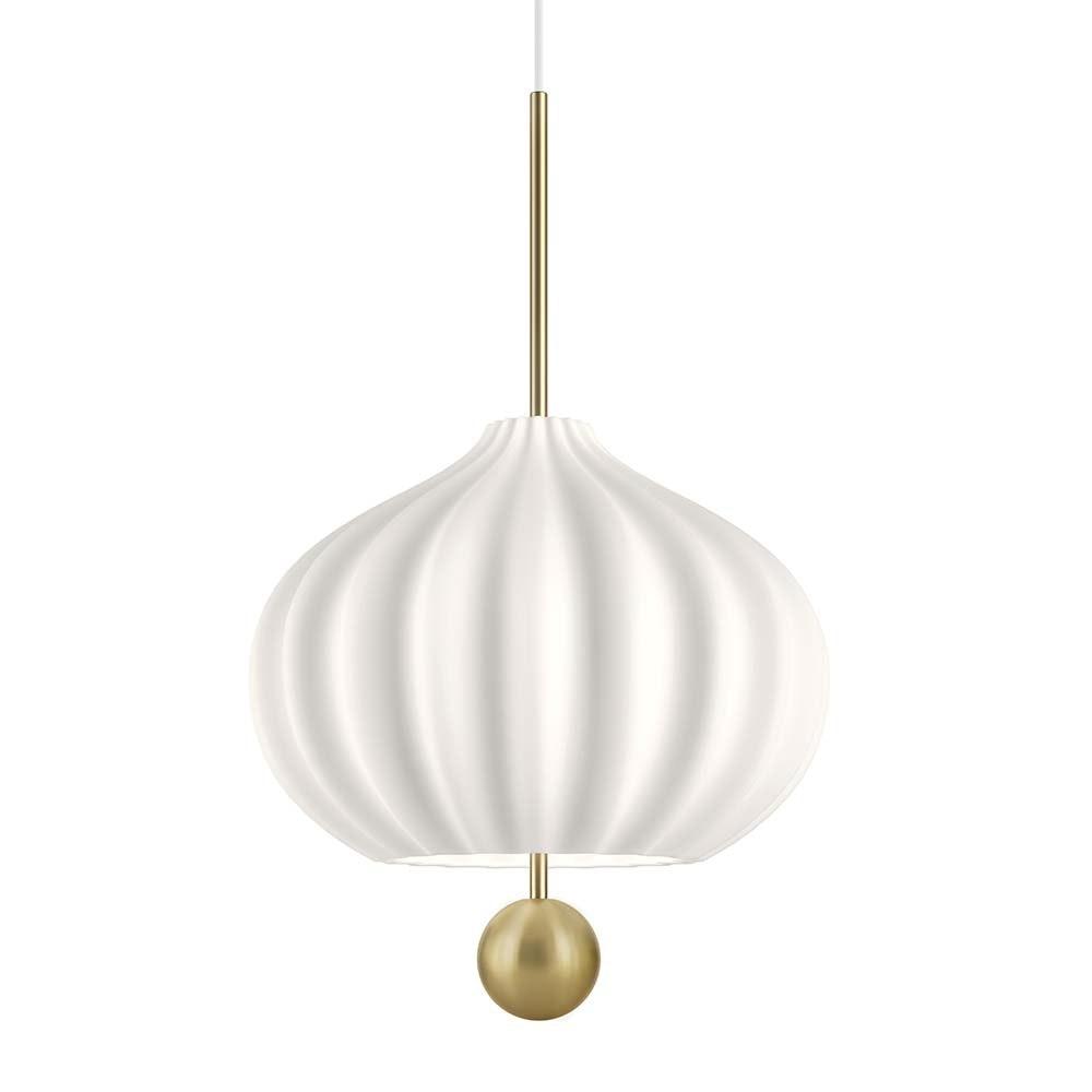 Kundalini Hängelampe Lilli mit Opalglas-Schirm Messing Ø 32cm 1