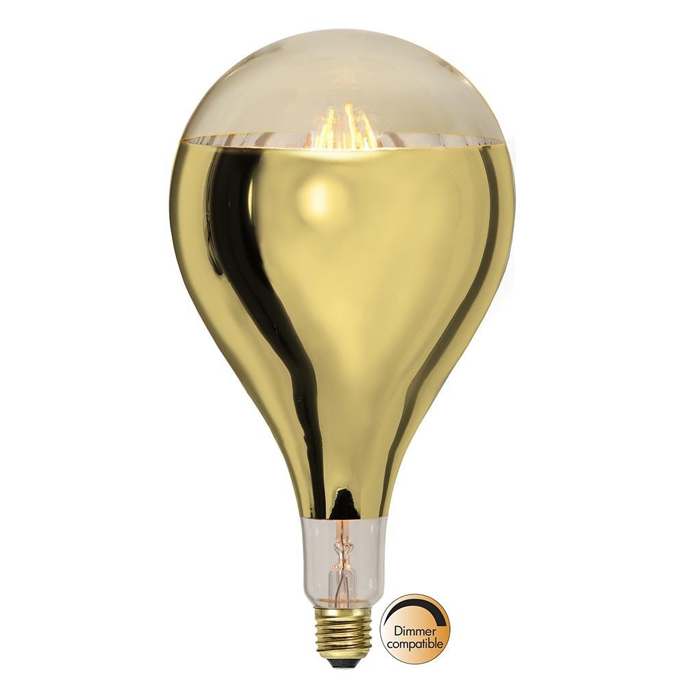 E27 LED Retro-Tropfen Kopfspiegel Messing 400lm Warmweiß dimmbar 2
