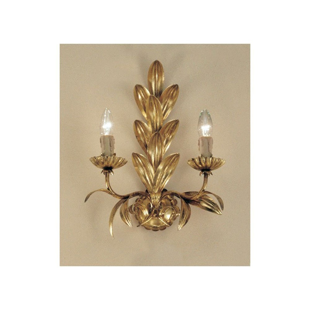 Palma Wandleuchte 2-flammig Blattgold-Auflage antik 40cm