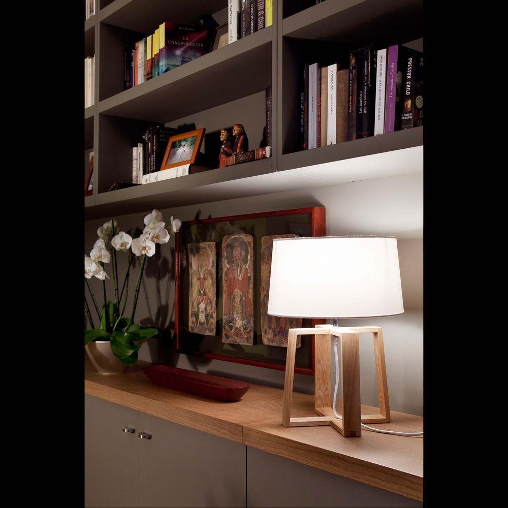 Holz Tischlampe BLISS IP20 Braun, Weiß 2