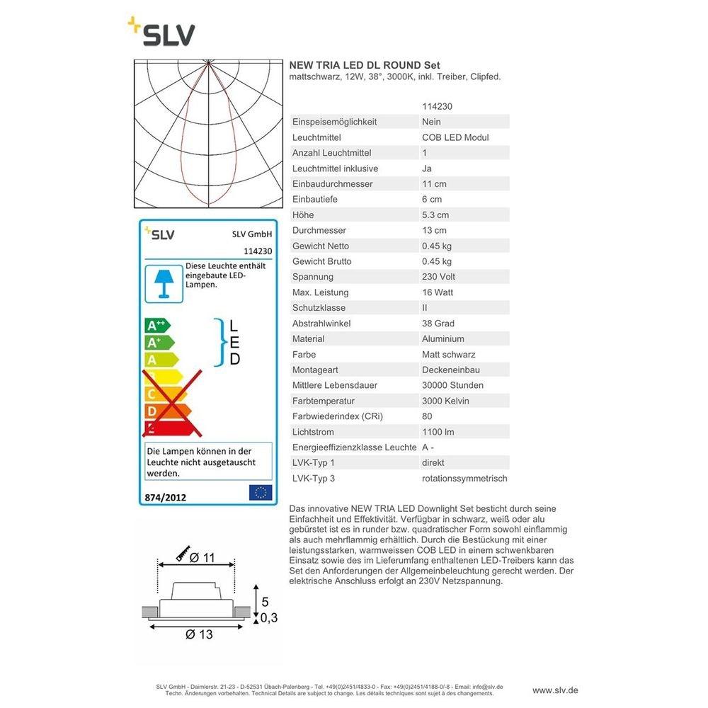SLV New Tria LED DL Round Set Schwarz 12W 38°, 3000K, inkl. Treiber, Clipf. 2