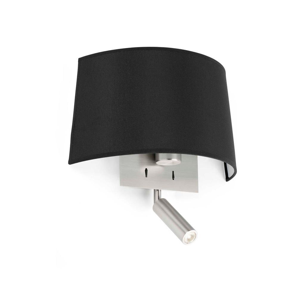 Wandlampe VOLTA mit LED-Leselicht 2700K Nickel, Schwarz 1