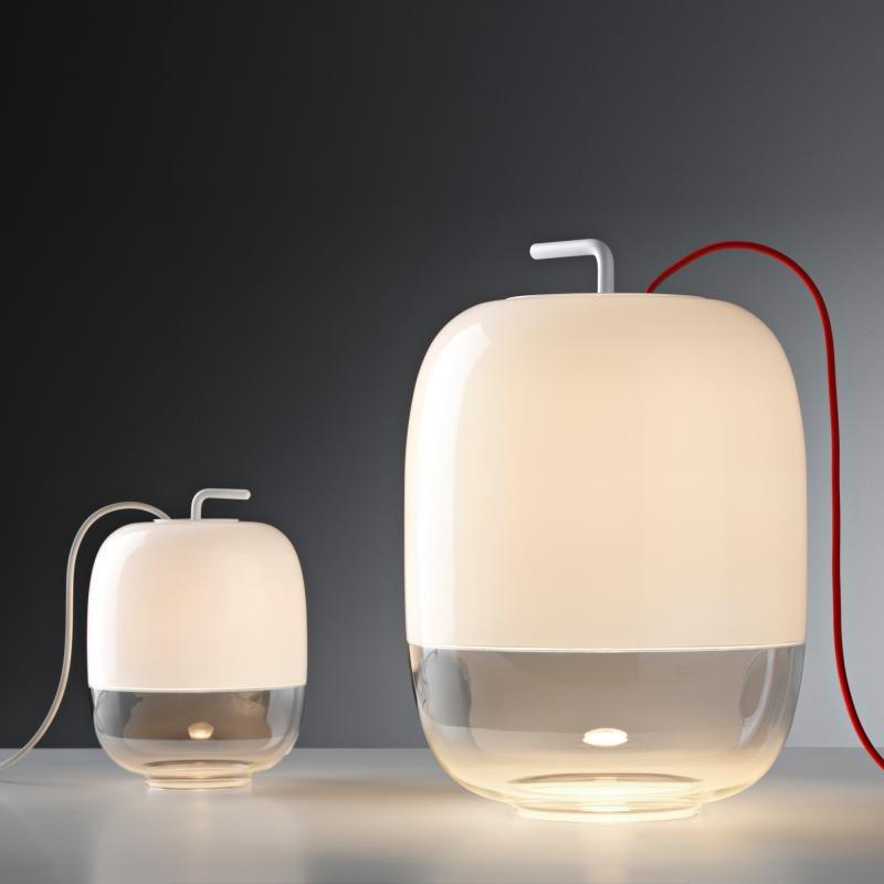 Prandina Glas Tischleuchte Gong T1 Weiß 2