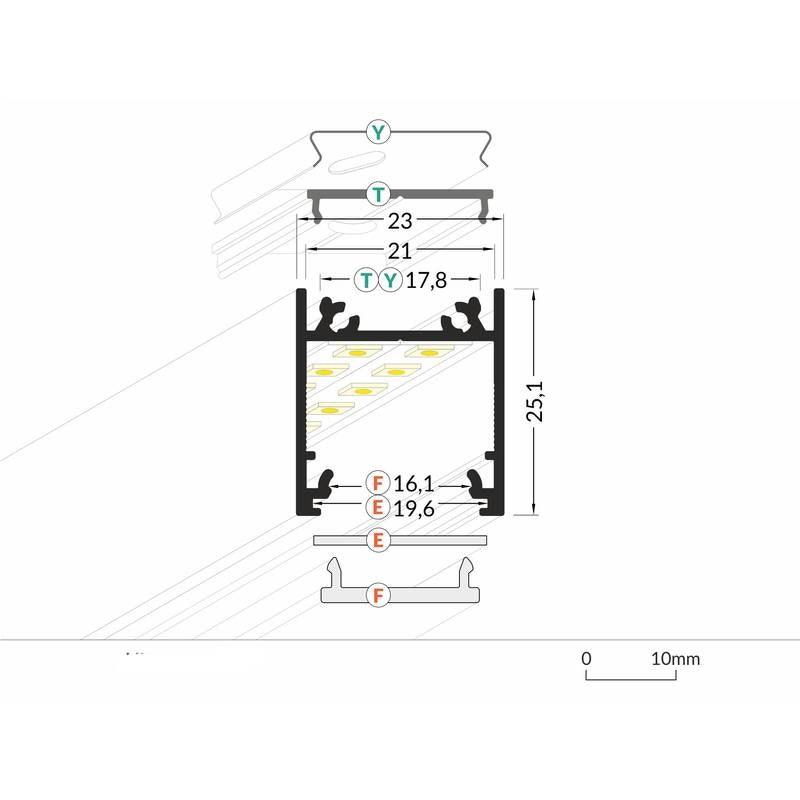 Aufbauprofil tief 200cm Schwarz ohne Abdeckung für LED-Strips 2