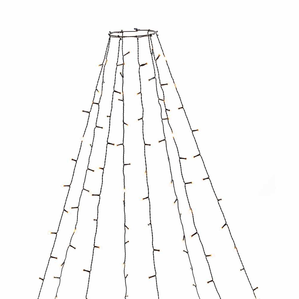 LED Baummantel mit Ring, Glimmereffekt & 8h Timer Schwarz 2