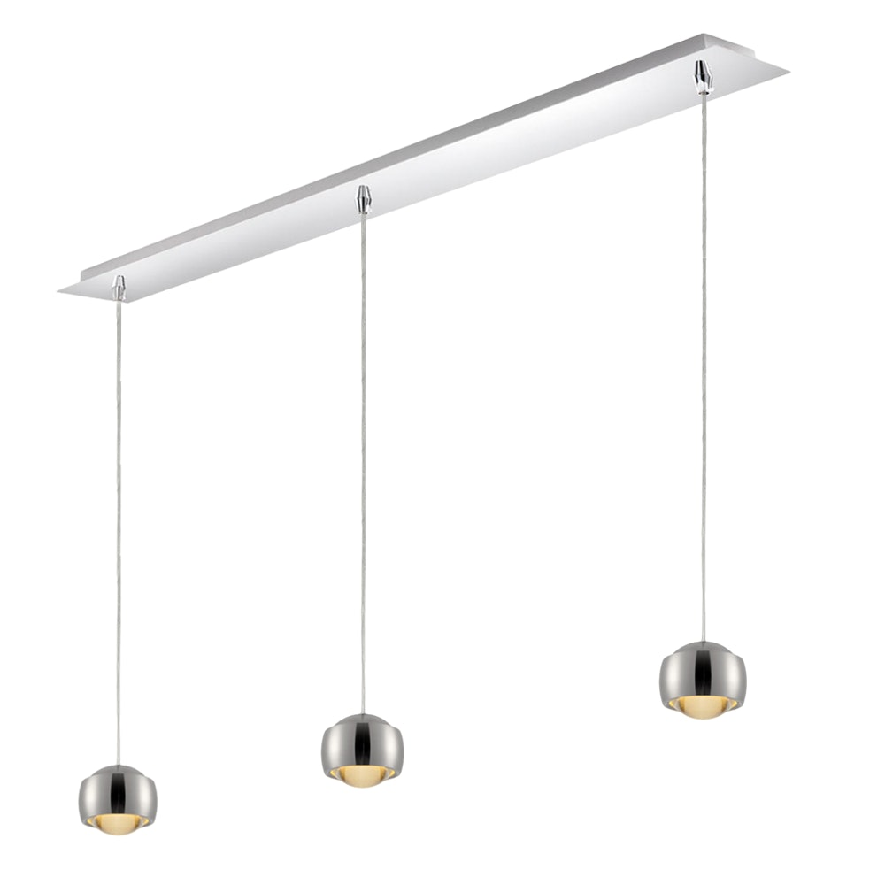 s.LUCE Beam LED Hängeleuchte mit Glaslinse 3-flammig Cup Deckenschiene 2