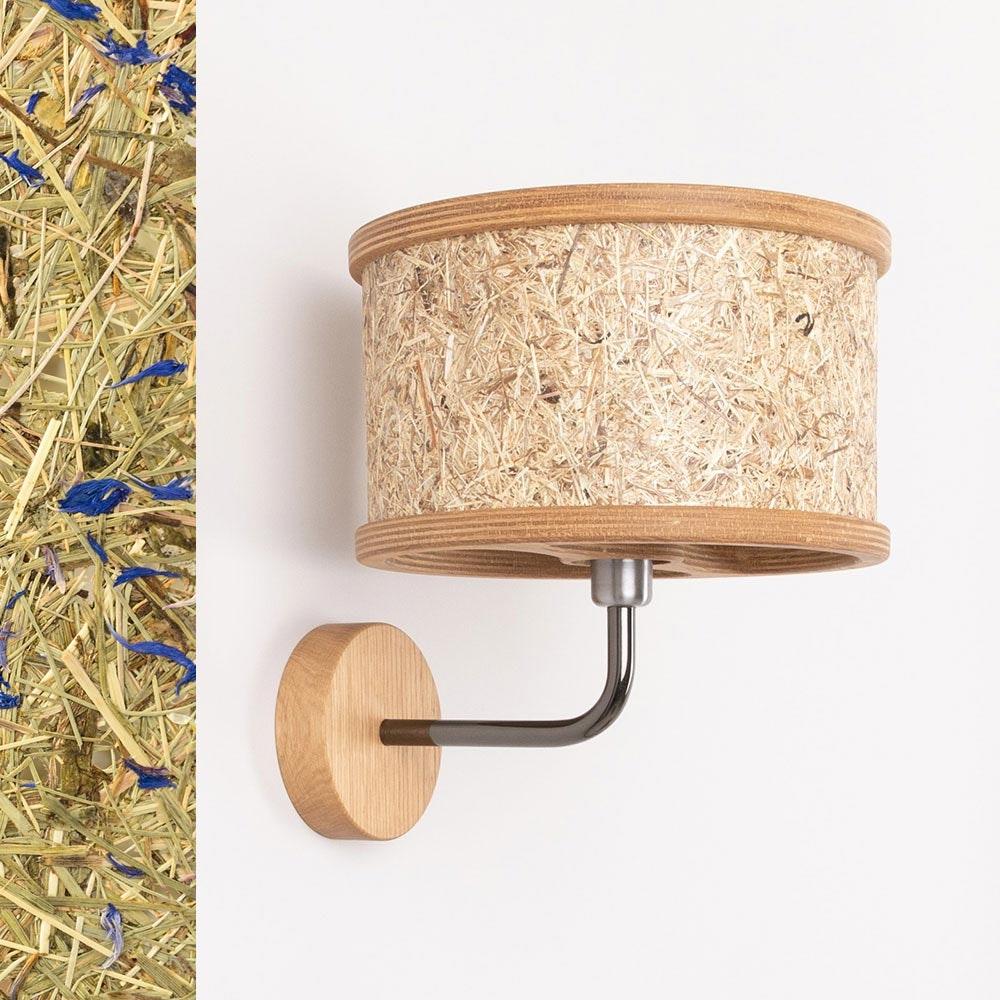 Holz Wandleuchte Ø 25cm mit Heuschirm 1