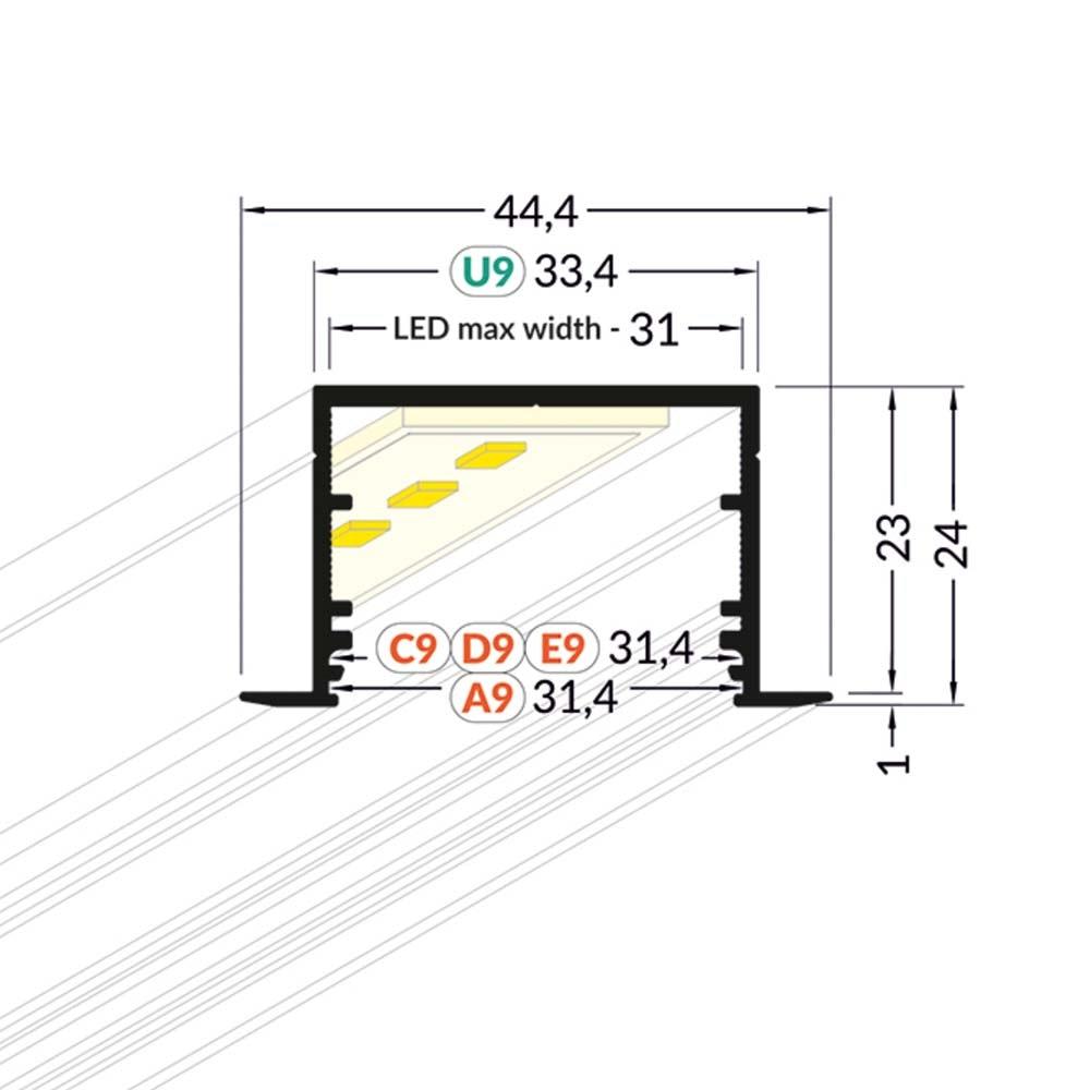 XXL Einbauprofil 200cm Alu-roh ohne Abdeckung für LED-Strips 4