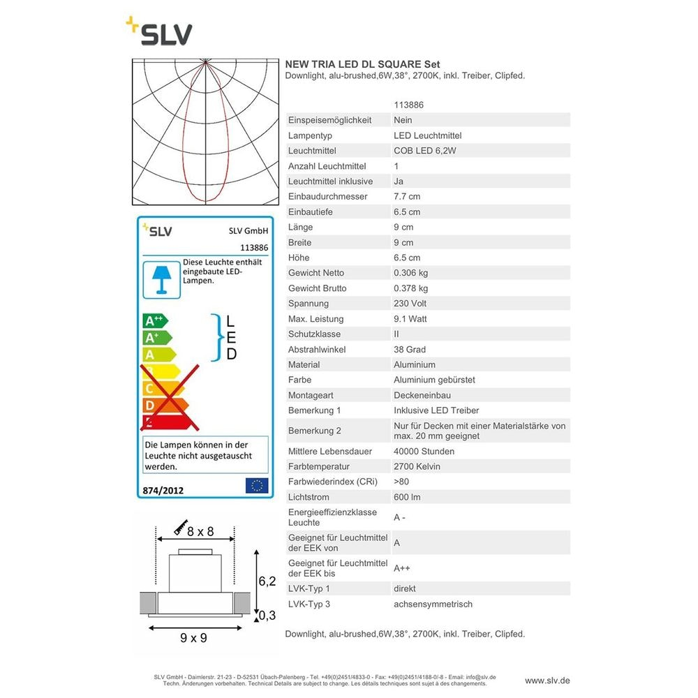 SLV New Tria LED DL Square Set Downlight Alu-Gebürstet, 6W, 38° 2700K inkl. Treiber Clipfed. 2