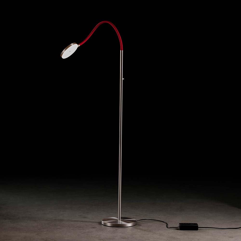 Holtkötter LED-Stehleuchte FLEX S Alu-Matt, Rot mit Tastdimmer 2200lm 2700K 1