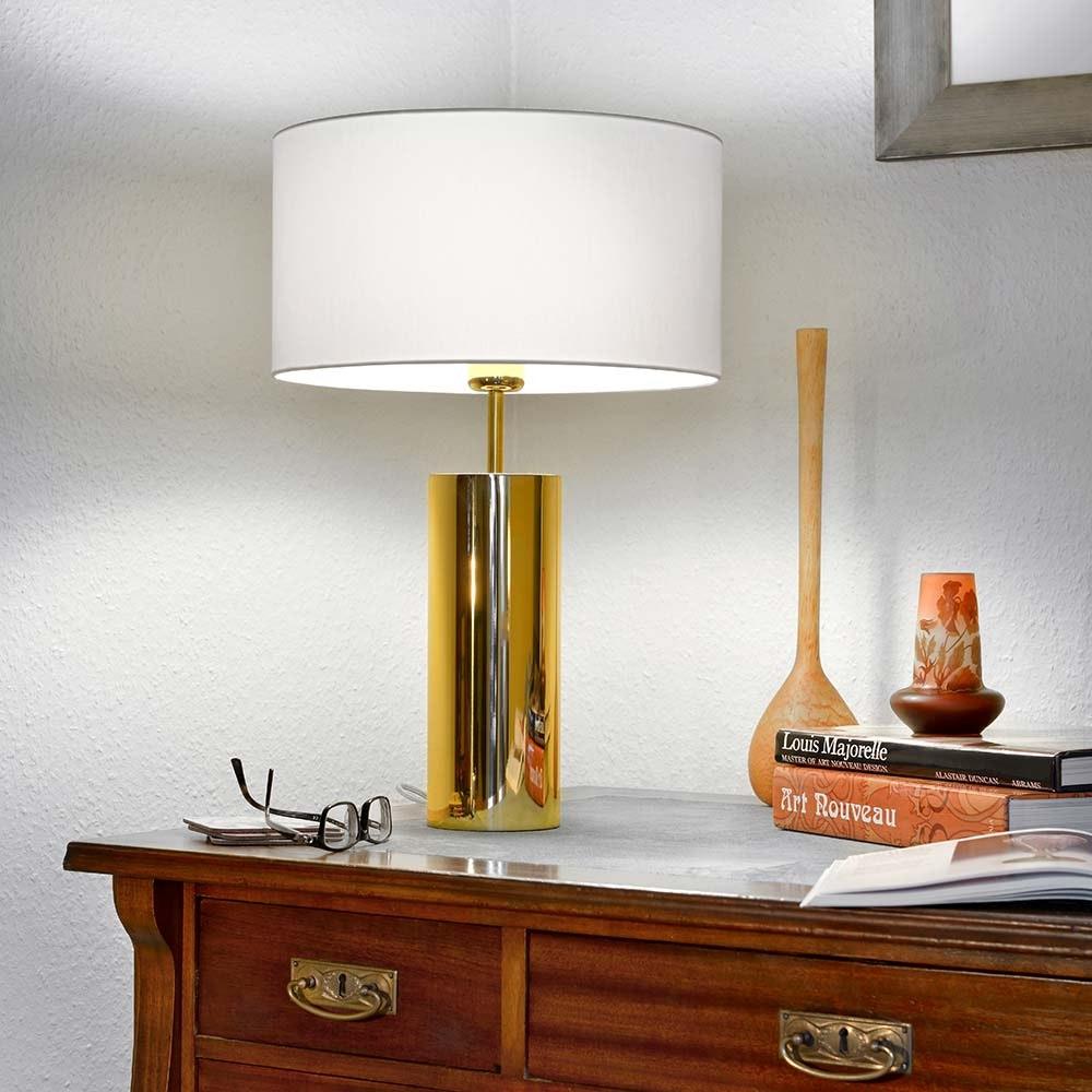 Villeroy & Boch Tischlampe Prag rund 53cm Goldfarben, Weiß 1