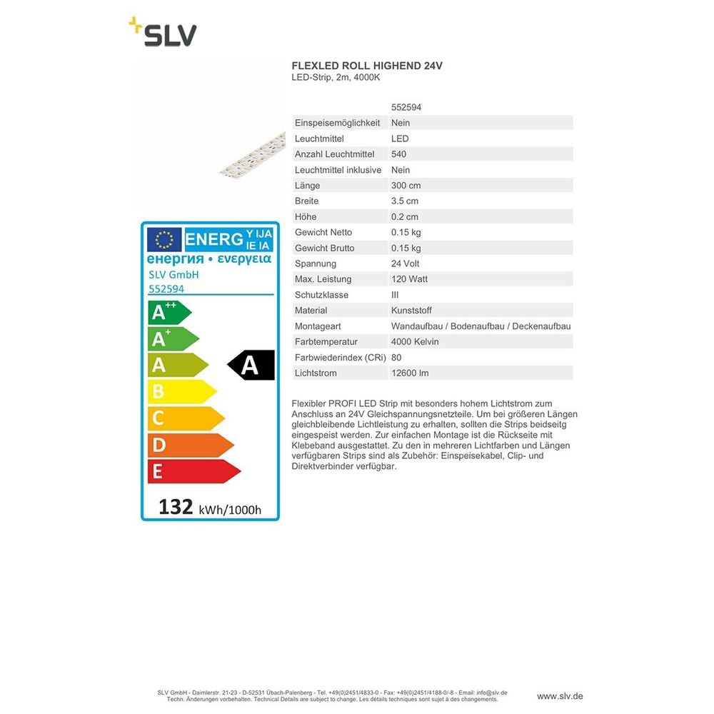 SLV FLEXLED ROLL HIGHEND 24V 3m 4000K 2