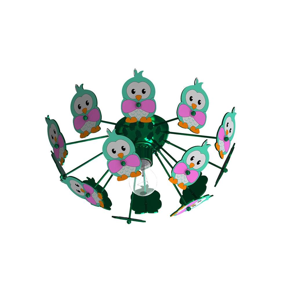 Kinder Deckenleuchte Viki 2 Grün mit Eulen