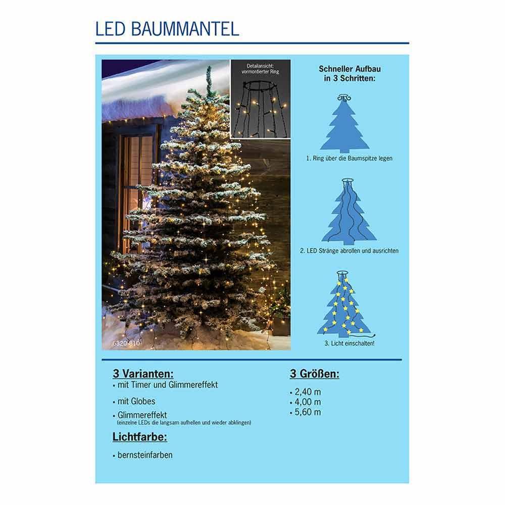 LED Baummantel mit Ring, Glimmereffekt & 8h Timer Schwarz 7