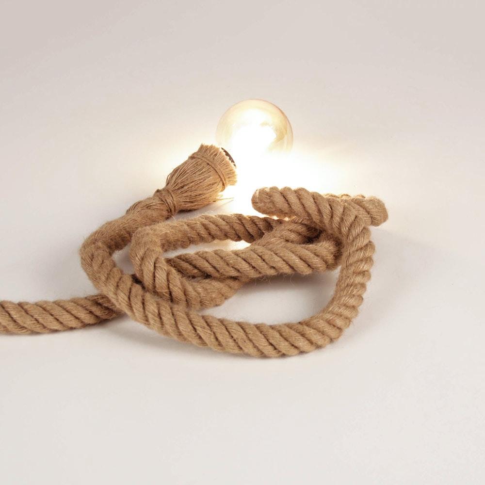 s.LUCE Rope Seil-Tischleuchte mit Fassung 200cm Braun 1
