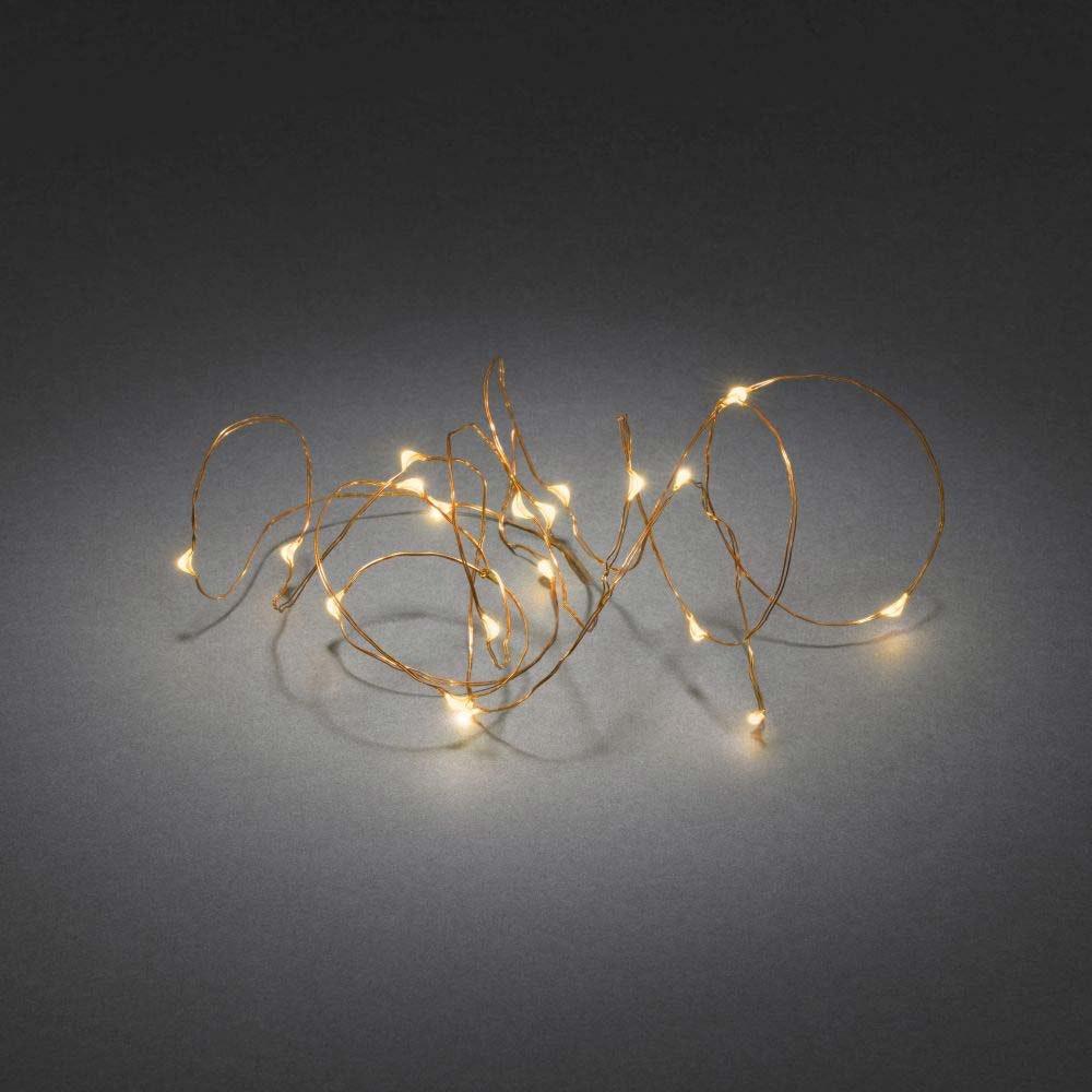 Micro LED Lichterkette Timer 20 bernsteinfarbene Dioden batteriebetrieben 2