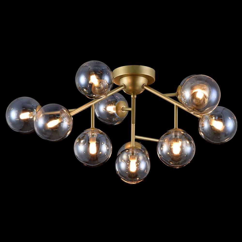 Glamouröse Deckenleuchte Glob 60cm Goldfarben 12 x Rauchglas 1