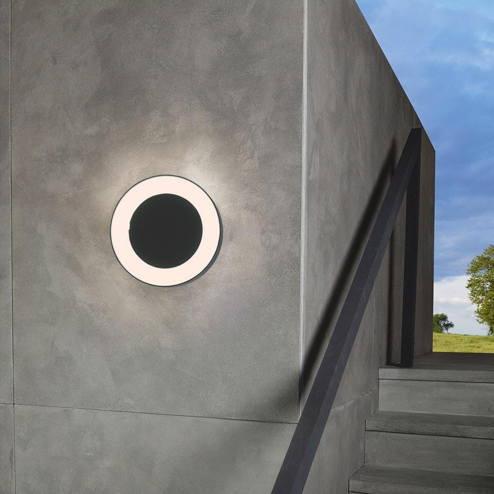 s.LUCE Hole LED-Aussenleuchte Ø 20cm Wand & Decke 10W Anthrazit 8