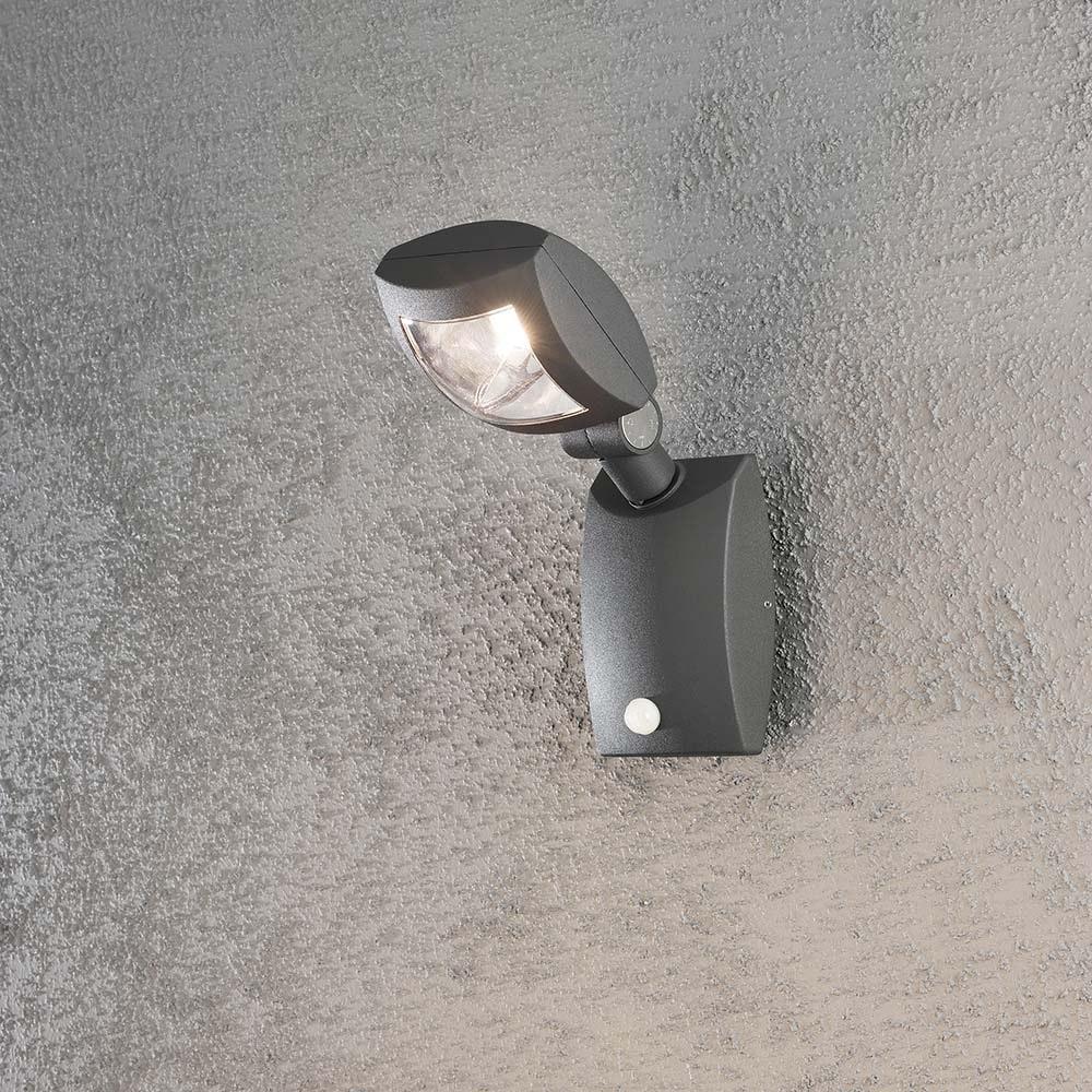 Latina LED Aussen-Wandleuchte mit Bewegungsmelder Anthrazit, klares Acrylglas 1