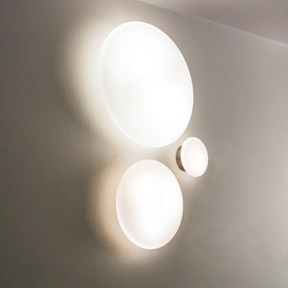 s.LUCE Pane 45 puristische Glas Decken-& Wandleuchte Weiß