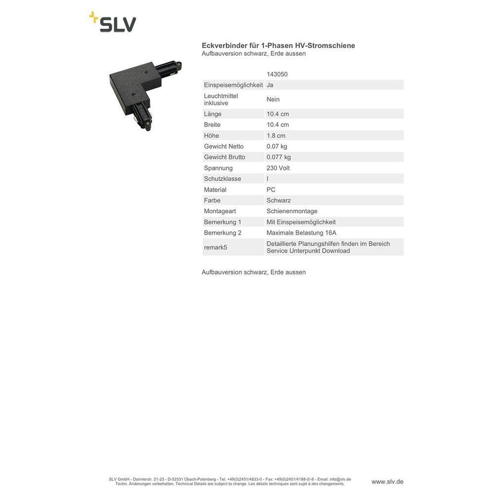 SLV Eckverbinder für 1-Phasen HV-Stromschiene Aufbauversion schwarz Erde Aussen 2