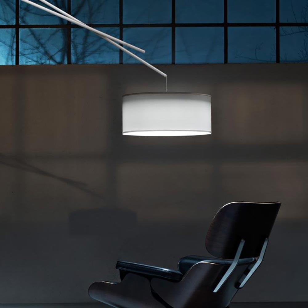 Prandina Bogenleuchte mit Schirm Effimera F50 Weiß 2