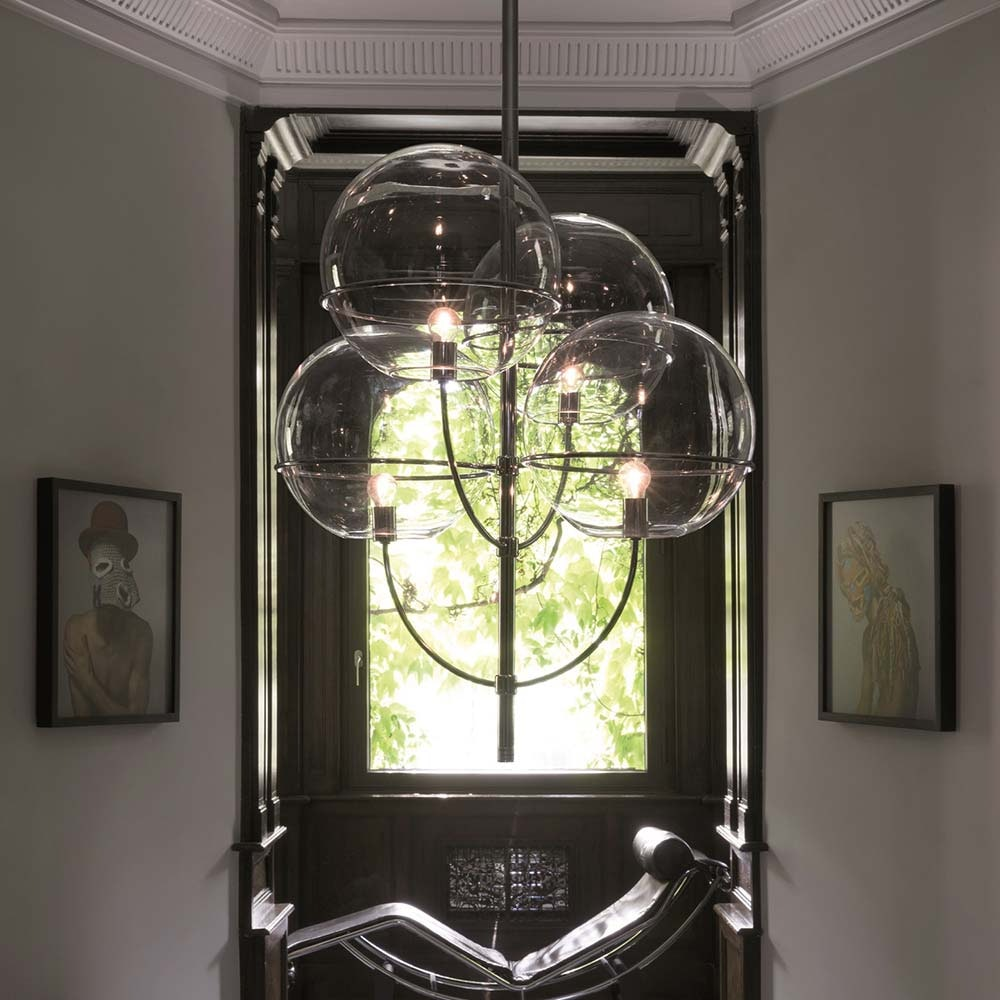 Oluce Kugelglas Leuchter Lyndon Chrom