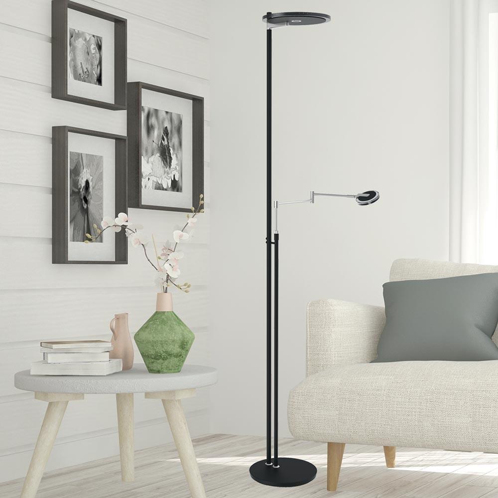Steinhauer LED-Deckenfluter Turound LED mit Lesearm Tastdimmer 2700K