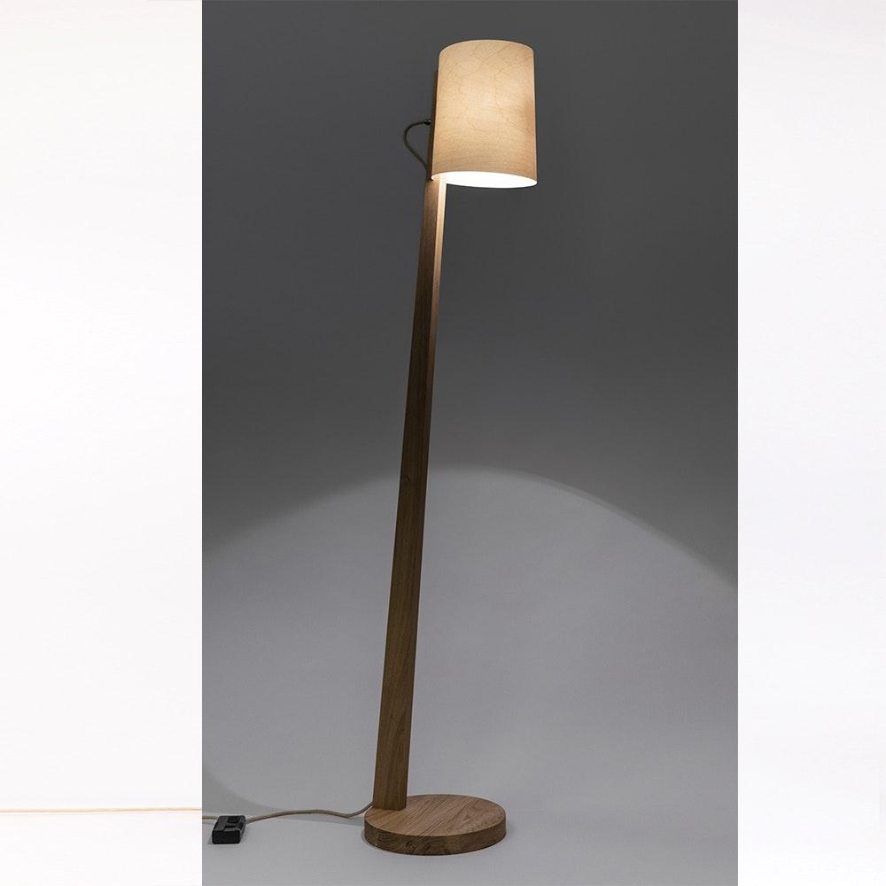 Holz Stehlampe mit Schirm Zylindrisch 167cm 17
