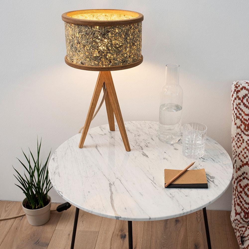 Holz Tischlampe Ø 25cm mit Heuschirm thumbnail 5