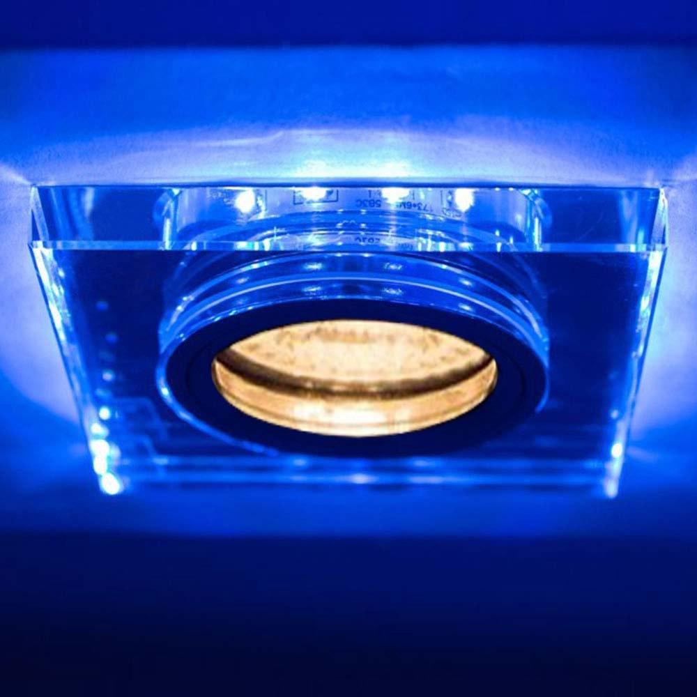 GU10 Decken-Einbauleuchte Soren mit blauen LED`s 9 x 9cm 230V 1