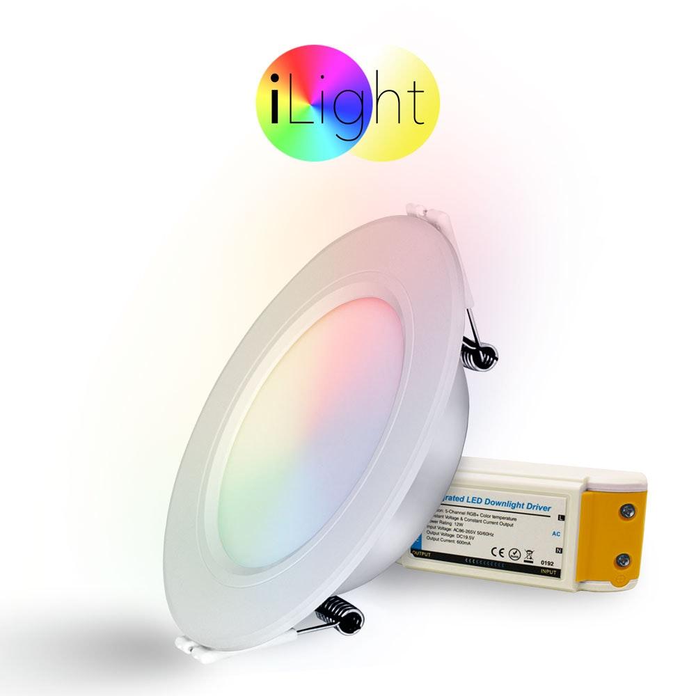s.LUCE LED-Einbaupanel iLight Ø12cm 600lm RGB + CCT