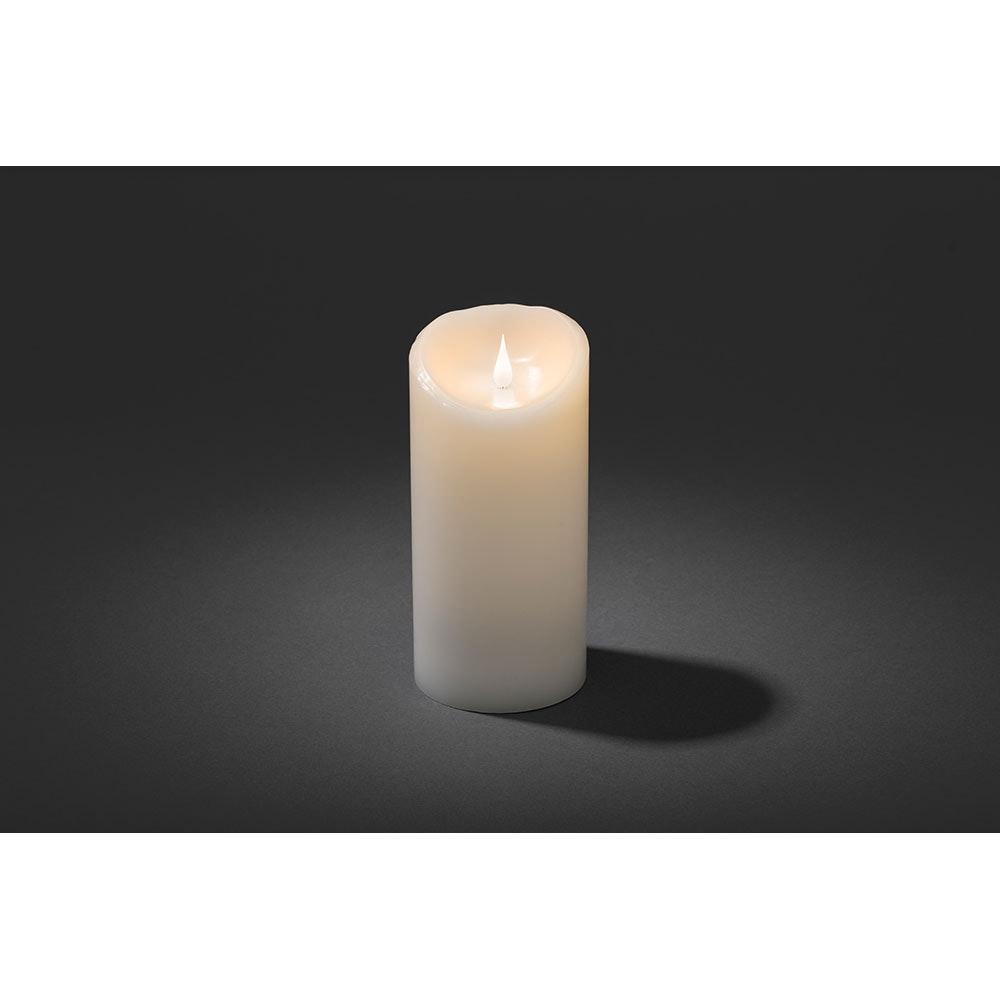 LED Echtwachskerze weiß mit 3D Flamme 21,5cm Warmweiße Dioden batteriebetrieb 2