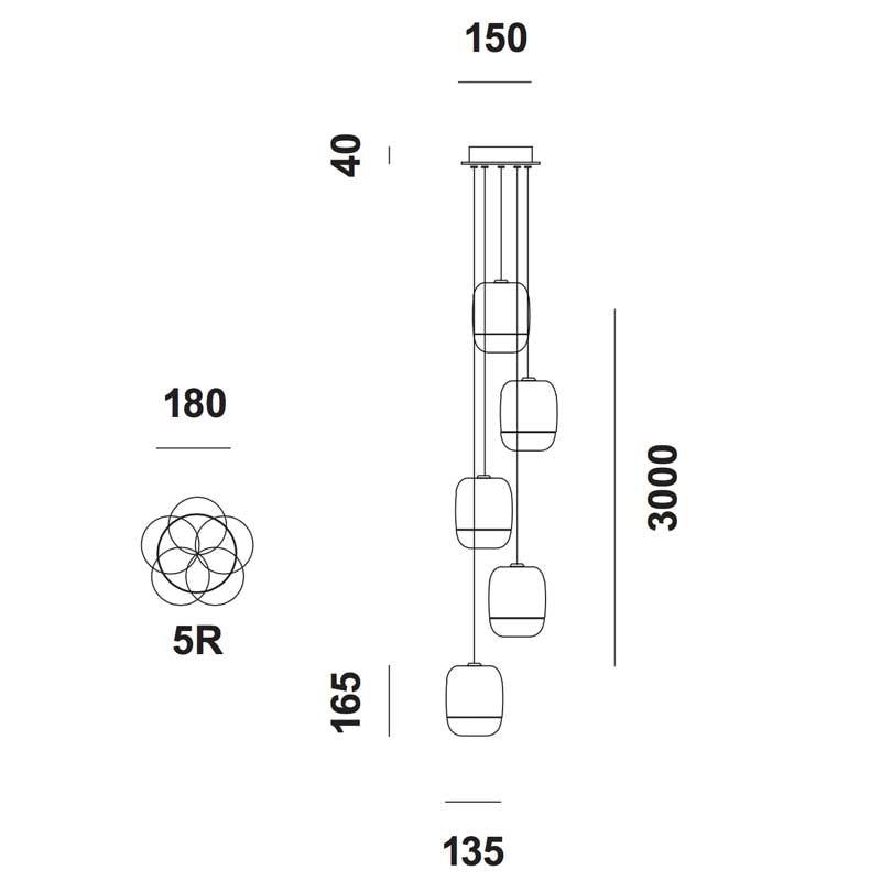 Prandina lange Hängelampe Gong Mini 5-flammig Schwarz 3