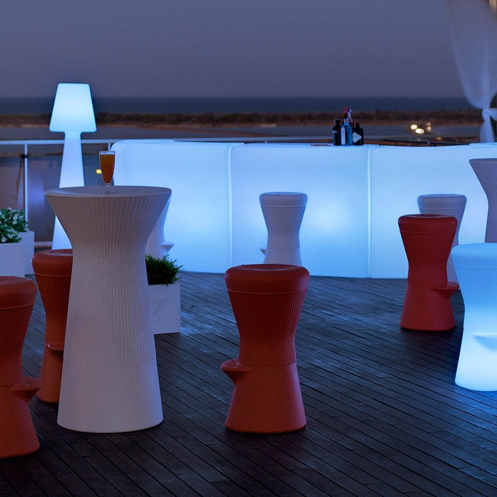 Licht-Trend LED beleuchteter Hochtisch Capri 110cm mit Fernbedienung  3