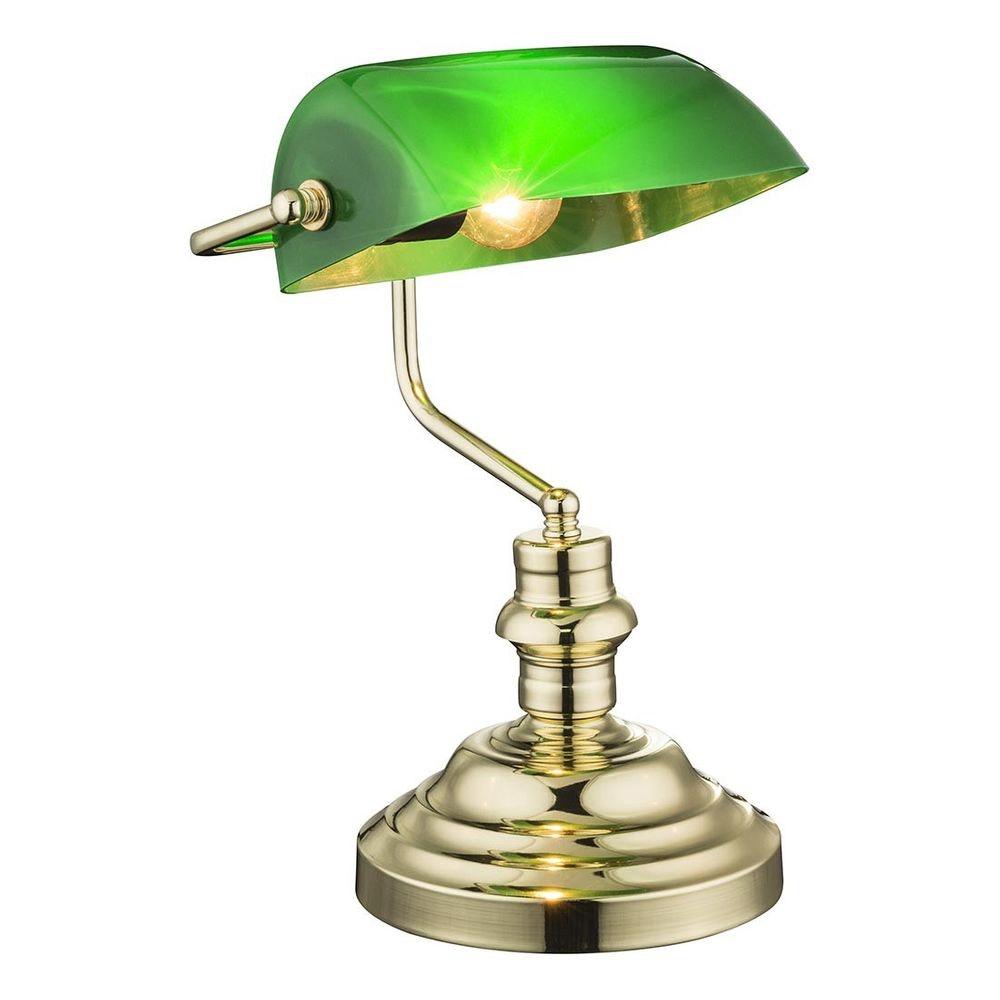 Licht-Trend Tischleuchte Lersu Bankerslamp Messing, Acryl Grün