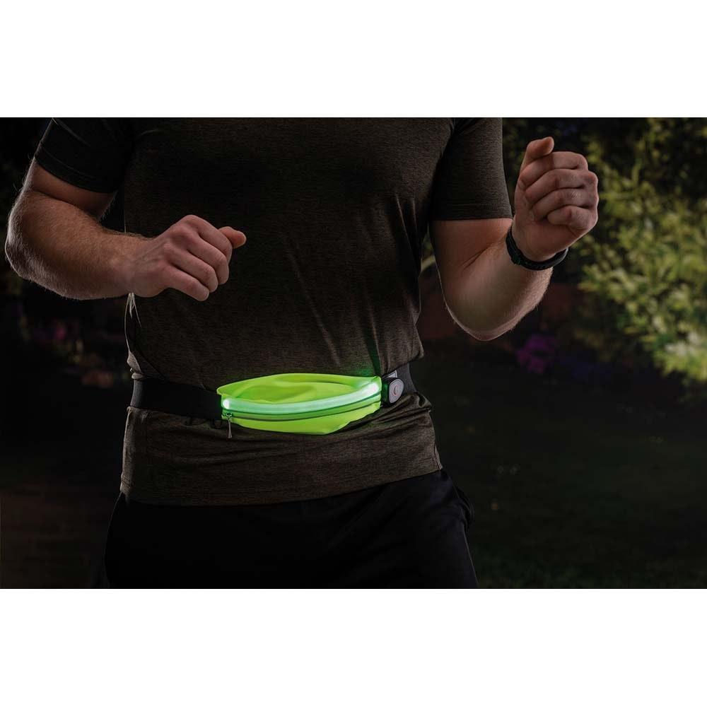 LED Laufgurt mit Smartphone-Fach inkl. USB und Akku Gelb 11
