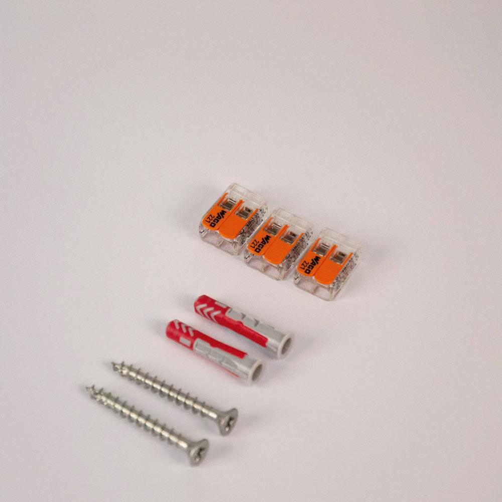 Montageset mit 3x Wago Klemme & 2x Fischer 6er Dübel + 2x PZ-Schraube 1