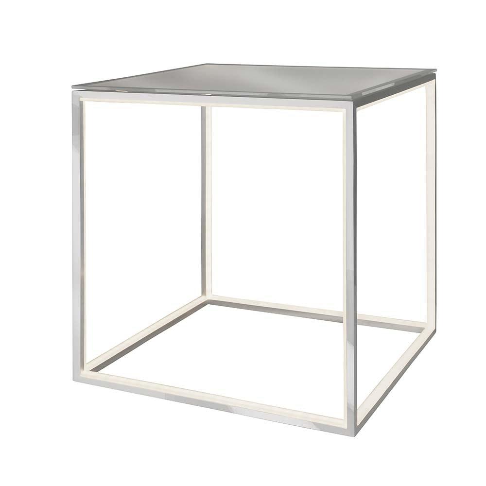 LED beleuchteter Couchtisch Delux 42 x 42cm Alu-matt mit Glas