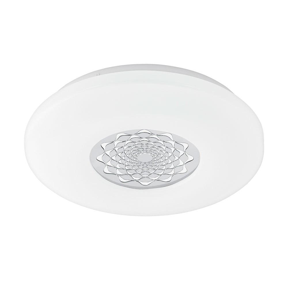 Capasso 1 LED Deckenleuchte Glitzer Ø 34cm 2100lm Weiß, Chrom
