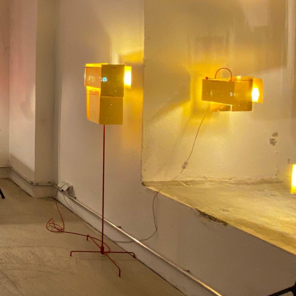 Ingo Maurer Stehleuchte 24 Karat Blau Floor goldenes Licht