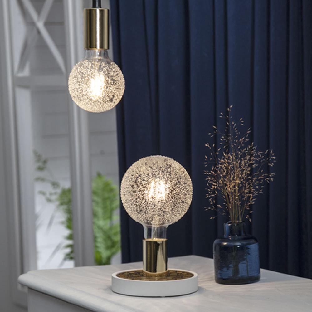Tischlampe für E27 Leuchtmittel in Weiß und Goldfarben 3