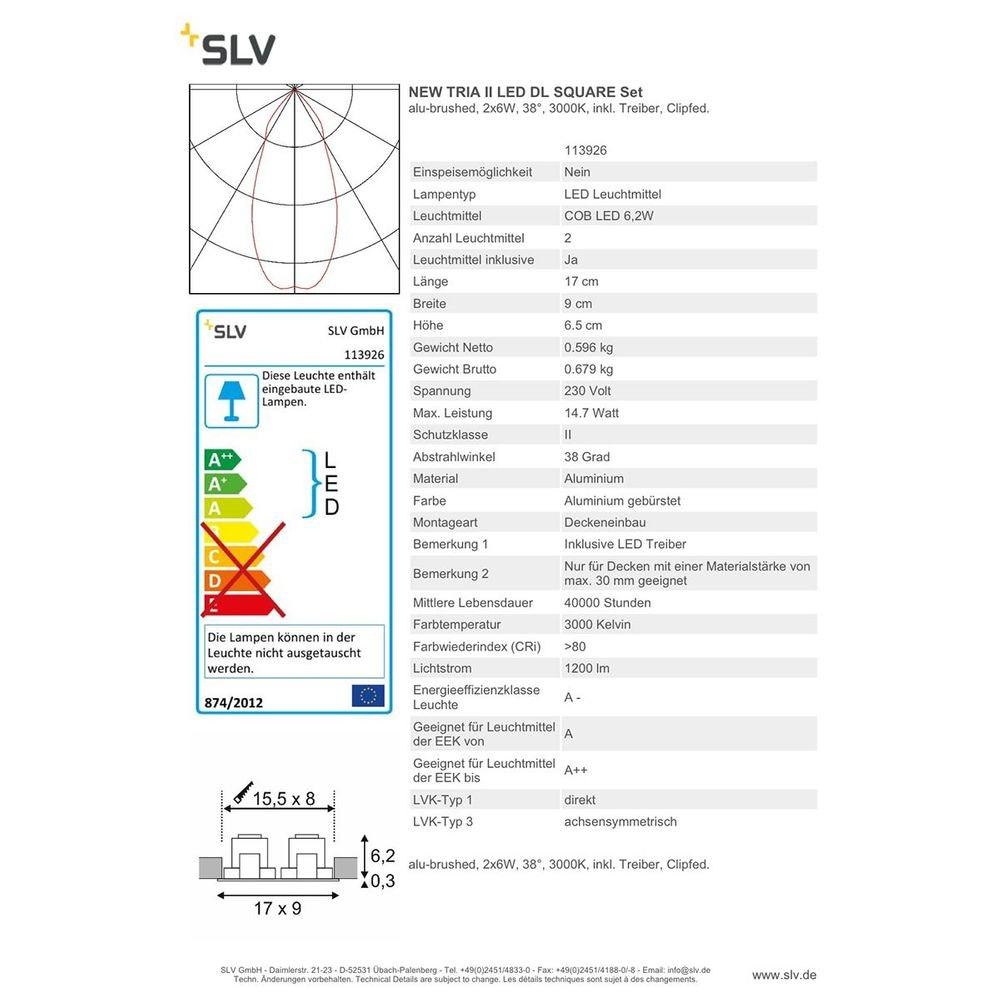 SLV New Tria II LED DL Square Set Alu-Gebürstet 2x6W 38° 3000K inkl. Treiber Clipfed. 2
