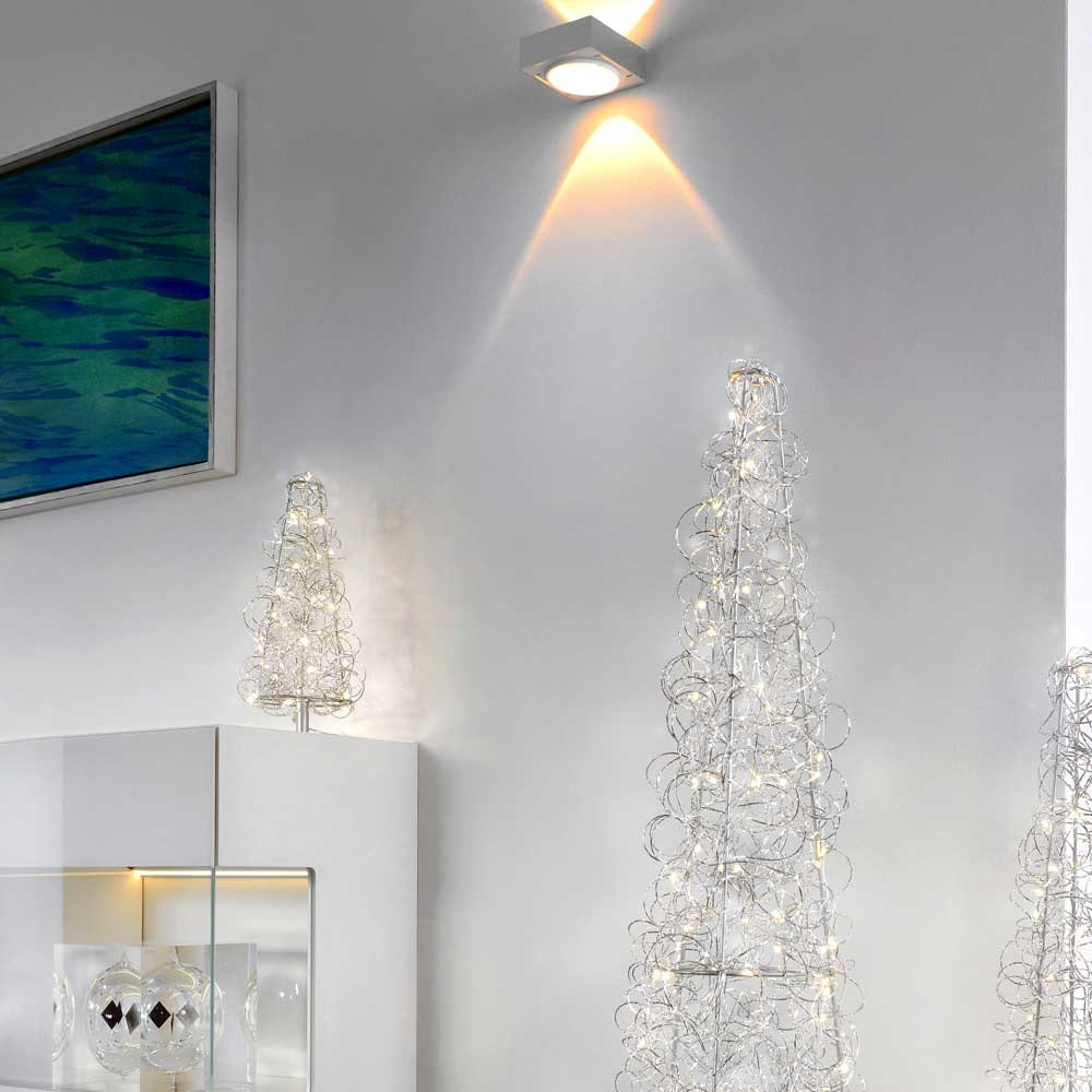 Weihnachtsbaum LED Tischleuchte Curly 40cm Silberfarben