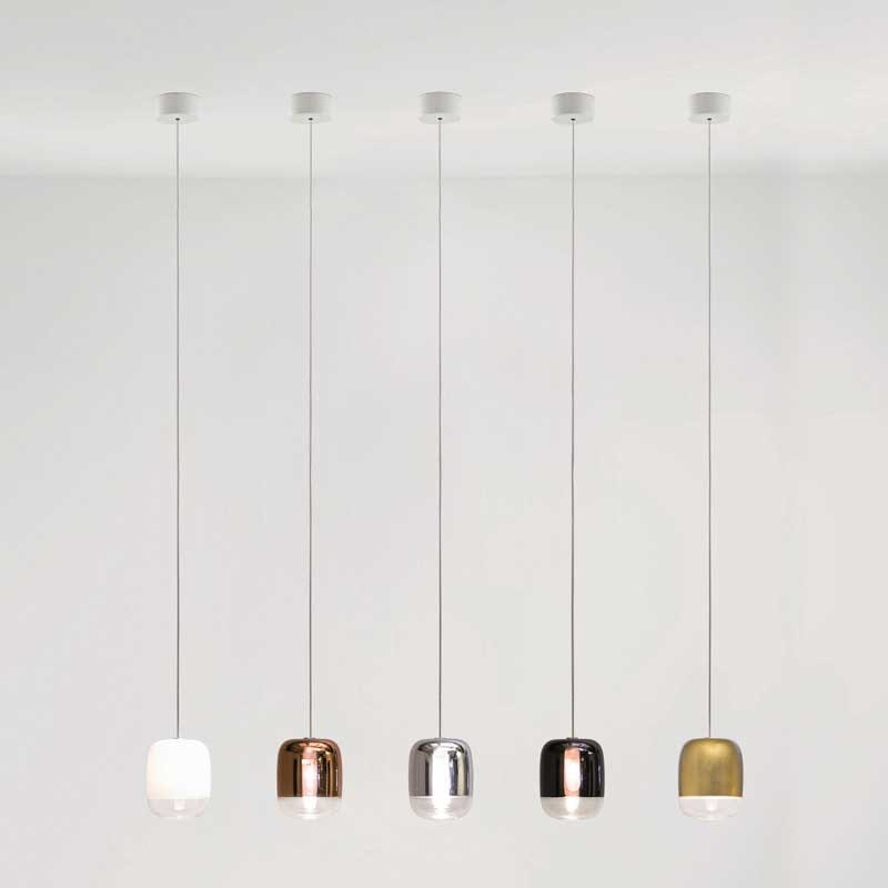 Prandina lange Hängeleuchte Gong Mini 9-flammig Silberfarben 4