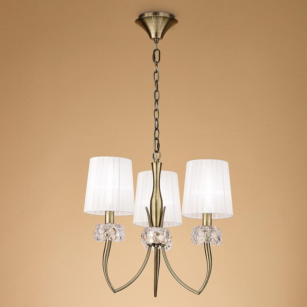Mantra Loewe 3-flammige Pendelleuchte mit 3 Lampenschirmen 2