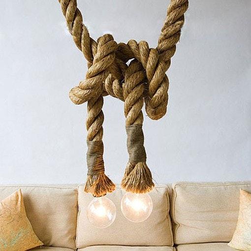 s.LUCE Rope Seil-Hängeleuchte mit 2 Fassung 250cm Braun 7